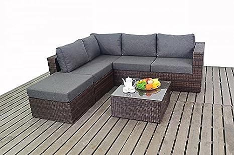 Moderno piccolo ad angolo da giardino in rattan cuscini divani