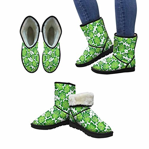 Women's Snow Boots Vector Clover Pattern For ST.Patrick's Day Green Leaves Design Art Print Deco Unique Designed Comfort Winter Boots