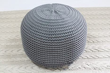 Amazon New Style Knitted Woolen Round Cushion POUF Grey Magnificent How To Knit A Pouf Cover
