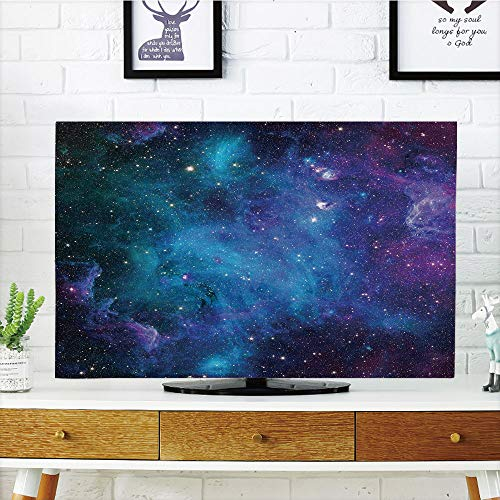 LCD TV dust Cover Strong Durability,Space Decorations,Galaxy Stars in Space Celestial Astronomic Planets in The Universe Milky Way Print,Navy Purple,Picture Print Design Compatible 47