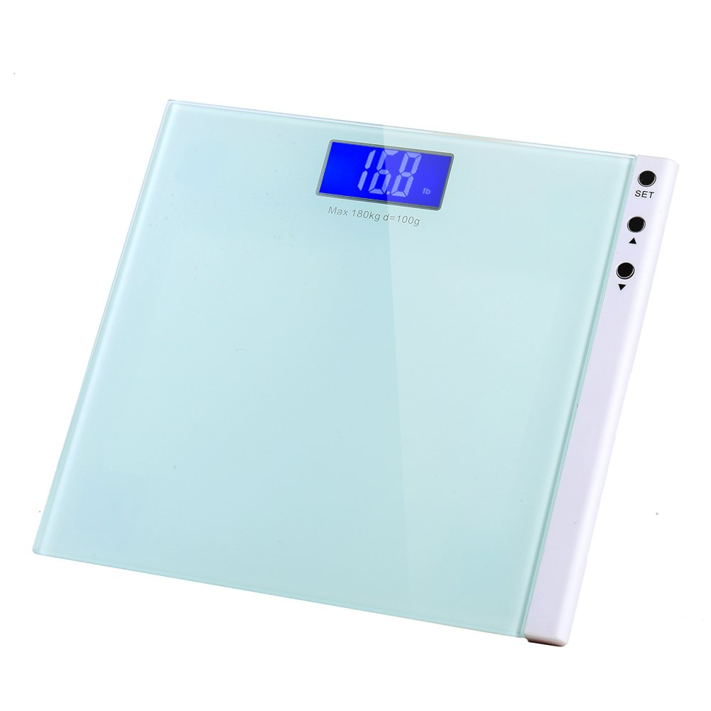 MEINI Bathroom Scales Large Blue LCD Step-On Technology Elegant White Memory Function (White)