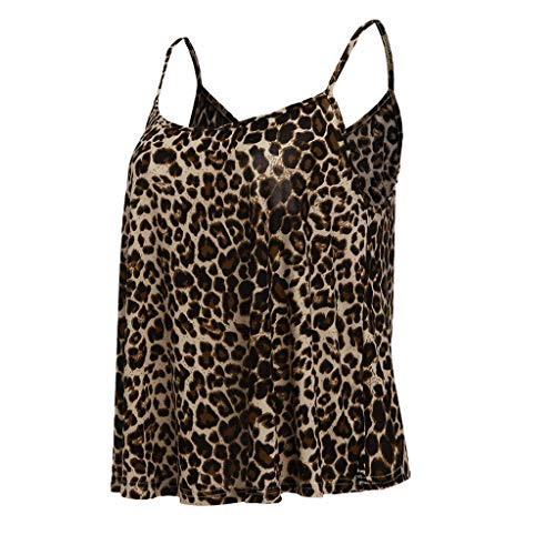 Tantisy ♣↭♣ Camisole Tank Top ✿ Fashion Womens Sling Tank Leopard Printed Sleeveless O-Neck Blouse Soft Comfortable Top Brown by Tantisy ♣↭♣ (Image #1)