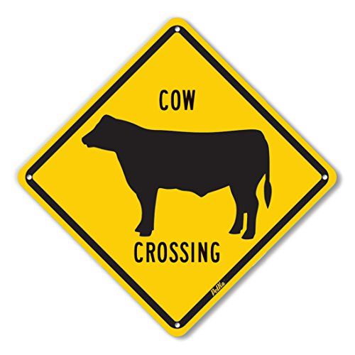 PetKa Signs and Graphics PKAC-0013-NA_10x10''Cow Crossing'' Aluminum Sign, 10'' x 10'', Black on Yellow by Petka Signs and Graphics