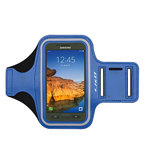 J&D Armband Compatible for Galaxy S7 Active Armband/Galaxy S8 Active Armband, Sports Armband w/Key Holder Slot, Perfect Earphone Connection While Workout, Running S7 Active S8 Active Running Armband (Arm Sport Active Armband)