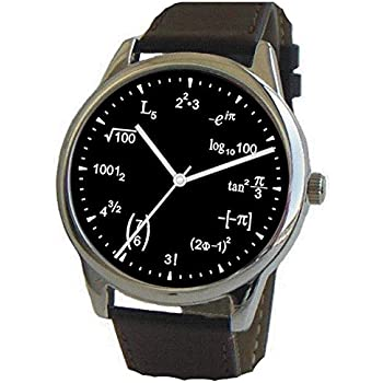 Math Dial Watch Shows Physics Equations on The Black Dial of The Large Polished Chrome Watch with Black Leather Strap.
