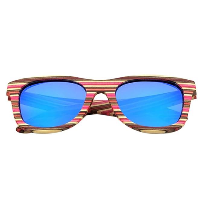 Republe Hombres Mujeres Niña Redondas Gafas de Sol Polarizadas Eyewear Protección UV400 Marco de Madera Colorida