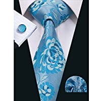 Hi-Tie Floral Jacquard Woven Tie Necktie Set for Men