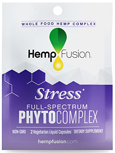 HempFusion Phytocomplex Stress (Box of 12 Travel Size Pouches, 2 Capsules Each), Whole Food Hemp Complex, 24 Vegetarian Liquid Capsules Total by HempFusion