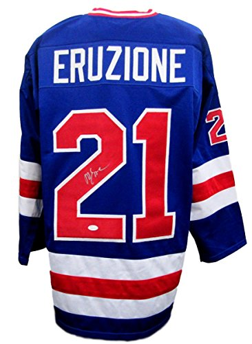Jersey Autographed Team (Mike Eruzione Team USA Autographed/Signed Blue Jersey JSA 135671)