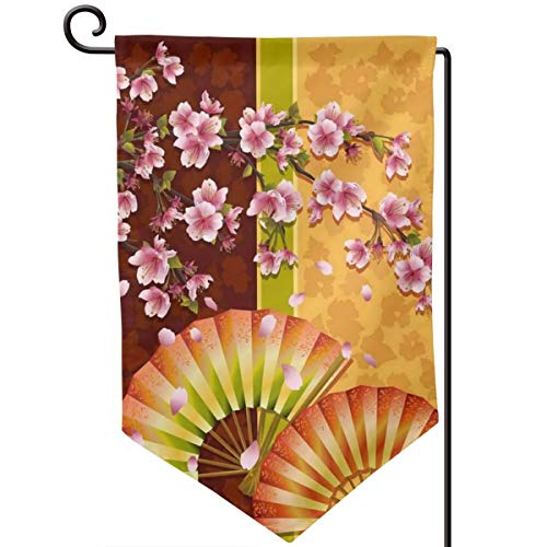 Private Bath Customiz Japan Style Floral Sakura Blooms Japanese Welcome Garden Flag Double Sided 12.5 X 18 Inch Summer Yard Decor Outdoor Home Double Sided ()