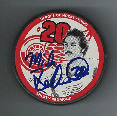 mickey-redmond-signed-puck-little-caesars-autographed-nhl-pucks