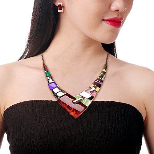 2017 Alloy Multicolor Statement Collar Nnecklace And Earring Set For Women Vintage Jewelry Sets For Women Jewelry Accessories Costume Jewelry Necklace Young Women Jewelry Earring Jewelry (Where To Buy Angel Wings)
