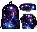 Advocator Galaxy Print 3PCS/Set Kids School Backpack+Lunch Pouch+Pencil Case