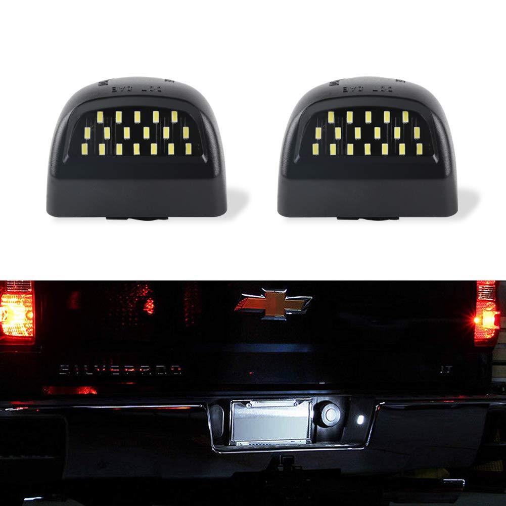 License Plate Light GemPro LED License Plate Tag Lamp Assembly For Chevy Silverado 1500 2500 3500 Cadillac Escalade Suburban Tahoe GMC Sierra 1500 2500 3500 Yukon XL-2Pcs