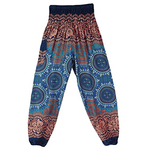 Pantaloni Pilates Danza Pantaloni Boho Pantaloni Donna Stile 22 Waist di Smocked Harem stampa Yoga Sentaoa SwqpvPHT