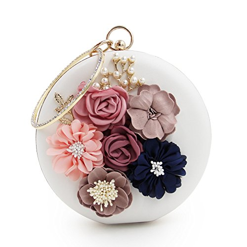 Clutches Clutch White Handbags Purses Evening Pearls Women Floral GSHGA Bag UBw5x0