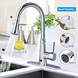 Giantex Motionsense Touchless Single-Handle Pull-Down High Arc Rotatable Kitchen Faucet w/ Dual Sprayer Hot Cold Water Mixer (Chrome)