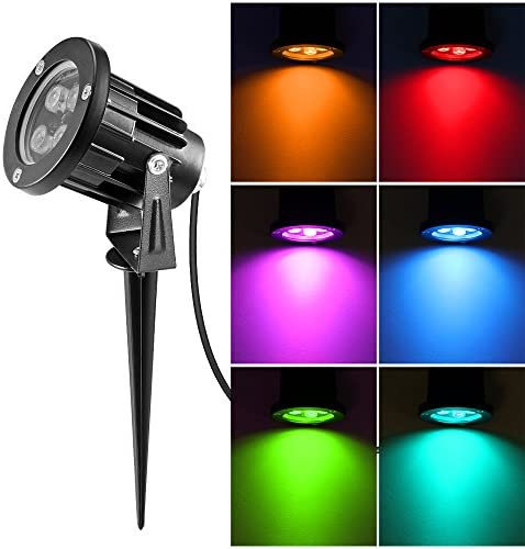 RGB Outdoor Landscape Light, 8W Waterproof Underwater AC Lawn Floodlight Color Changing Landscape Lighting Stake Pathway Light Remote Control for Yard Patio Pond Driveway Path Lighting
