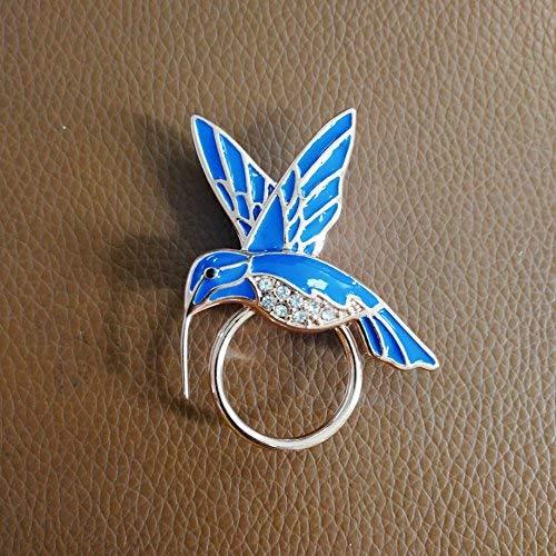 NOUMANDA Nature Jewelry Blue Enamel Hummingbird Magnetic Eyeglass Holder Crystal Bird Magnetic Brooch (Rose Gold)