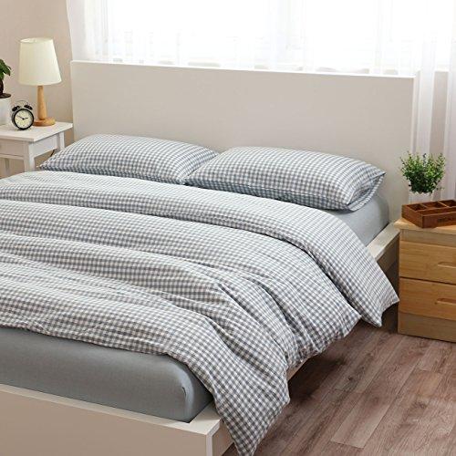 Chic Libaoge 4 Piece Bed Sheets Set, Light Blue White Checkered Plaid Grid  Print,