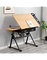 SogesHome Adjustable Drafting Table with Stool Tiltable Drafting Desk Drawing Board Adjustable Art Desk Crafting Table Craft Workstation, with Storage Drawer, NSDCA-CZKLD-026
