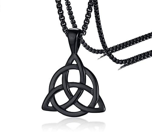 fb21273fc320d PJ Jewelry Mens Stainless Steel Irish Celtic Knot Triquetra Trinity  Triangle Pendant Necklaces with 24