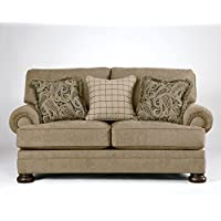 Keereel Collection 3820035 78 Loveseat with Fabric Upholstery Rolled Arms Nail Head Accents and Traditional Style in Sand