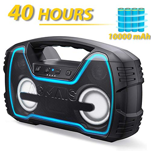 Bluetooth Speakers V5.0, AOMAIS 40-Hour Playtime Portable Outdoor Wireless Speaker with 10000mAh Battery, 30W Louder Volume & Deeper Bass丨 IPX7 Waterproof 丨LED Lights for Party, Beach [2019 Newest]