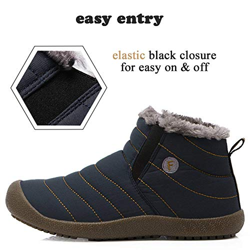 Fuzzy Shoes Snow Water SITAILE Winter Men Boots Sneakers Proof Women On Ankle Slip Outdoor for Blue Booties Unisex dxE7ERqf4w