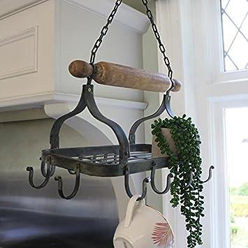 Pfannen Aufhängen rustikale schwarze metall zum aufhängen pfanne rack amazon de