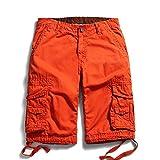 OCHENTA Men's Cotton Casual Multi Pockets Cargo Shorts #3231 Orange Red 32