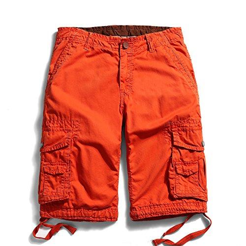 OCHENTA Men's Cotton Casual Multi Pockets Cargo Shorts #3231 Orange Red 36