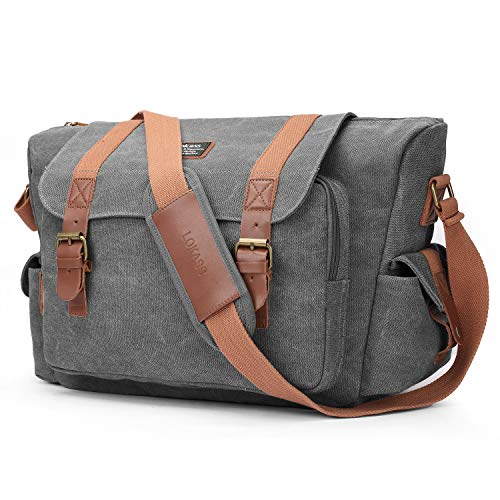 CoolBELL Camera Bag SLR/DSLR Canvas Shoulder Bag Convertible Business Briefcase Messenger Case Carrying Organizer Compatible SONY/Nikon / Olympus (Dark Grey) by CoolBELL
