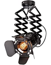 Hobaca E26 Telescopic Loft Industrial Iron Spotlight Vintage Ceiling Lights LED Shop Light Track Light Nordic Pendant Light Wall Lights Spotlight for Bar Cafe Shop