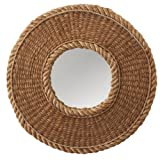 Round Wall Mirror with Nautical-Inspired Woven Rope Frame 17.5""