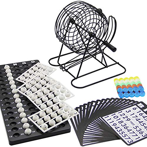 Lulu Home Bingo Game Set, Christmas Bingo Cage Include White Balls, Bingo Chips, 18 Bingo Cards, 8 Inch