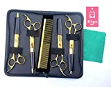 LILYS PET 8inch Professional PET DOG Grooming Scissors Suit Coated Titanium Cutting&Curved&Thinning shears (Golden)