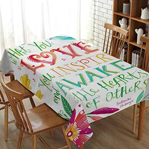 - RXIN Country Style Letter Printed Cotton Linen Tablecloth Table Cover for Kitchen Dining Table Square Rectangular