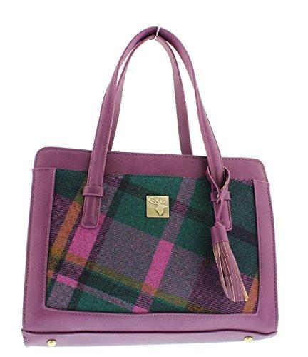 'House of Tweed' Tassel Handbag Purple Checks