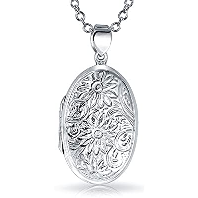 discount Bling Jewelry Sunflower Oval Locket Pendant Sterling Silver Necklace 18 Inches for sale