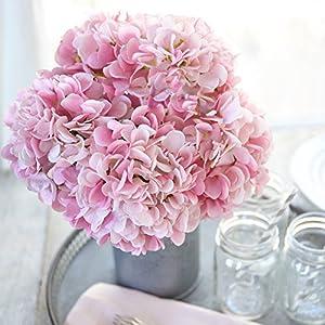 Butterfly Craze Artificial Hydrangea Silk Flowers for Wedding Bouquet, Flower Arrangements - Pink Color, 5 Stems per Bundle 2