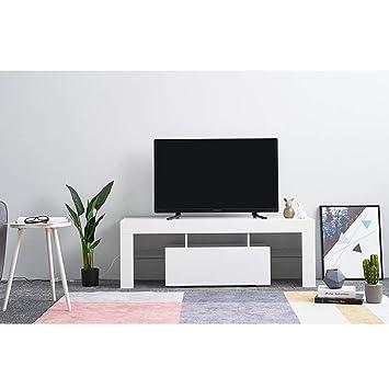 Keinode - Mueble de TV con Luces LED de Alto Brillo Blanco ...