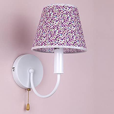 Yposion Purple Saika Children Wall Lights Girls Bedroom Bedside Lamp