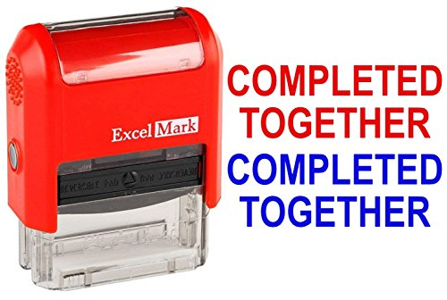 Completed Together - ExcelMark Self-Inking Two-Color Rubber Teacher Stamp - Perfect for Grading Homework - Red and Blue Ink