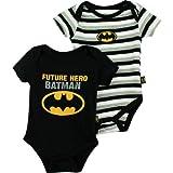"Batman ""Future Hero"" Black 2-Pack Infant Bodysuit Set (12M)"
