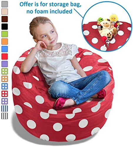 BeanBob Stuffed Animal Storage Bean Bag Chair in Red w/ Polka Dots - 2.5ft Large Fill & Chill Space Saving Toy Organizer for Children - For Blankets, Teddy Bears, Clothes & Bedding
