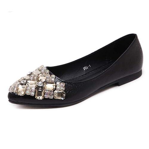 721996ff Pisos de Rhinestone Mujer Ballet Zapatos Vestido resbalón de Zapatos de Corte  Confort Mujer Casual Pisos en Barco de Zapatos de: Amazon.es: Zapatos y ...