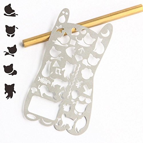 (Ruler Scale - Various Cat Hollow-Out Metal Drawing Template Ruler Promotional Gift Stationery)