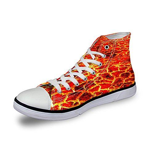 Lifegenius High Top Scarpe Di Tela Per Uomo Design Creativo Stampa Sneakers Basse Lace-up C0966ak