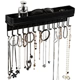 Jack Cube Hanging Jewelry Organizer Necklace Hanger Bracelet Holder Wall Mount Necklace Organizer with 25 Hooks(Black) - MK124B (16.38 x 4.88 x 2.93 inches)